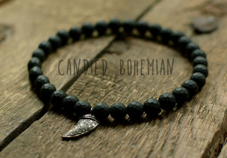 RELEASE STRESS- Diamond Bracelet, Mens Beaded Bracelet,  Men Jewelry, Tibetan Jewelry, Men Bracelets, Black Onyx Bracelet, Candied Bohemian, Mens Fashion, Mens Style, Boho Men, MEns Accessories, Mens Boho Jewelry, Hipster Style, Free Spirit MEn, Woolf Tooth Bracelet, Mens Amulet,  by CandiedBohemian on Etsy
