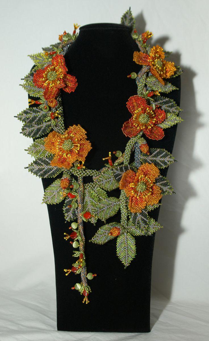 La Primavera Bead weaving Necklace Wearable Art by gayhuntley