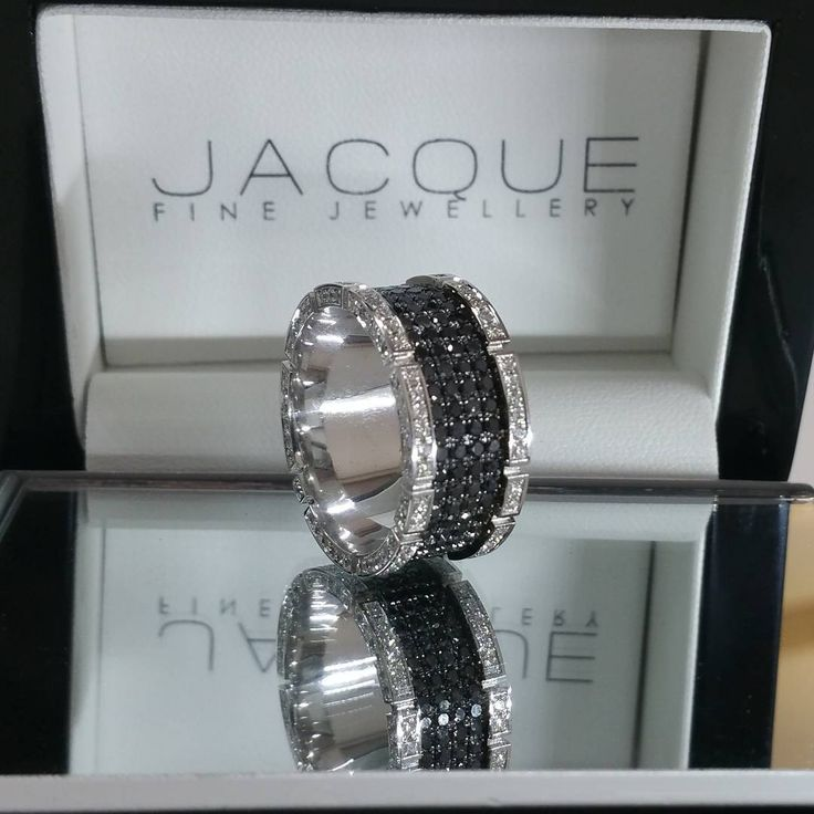 Black and white diamond band for Him / Jacque Fine Jewellery #ring #rings #wedding
