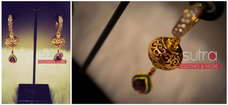 Stone studded earrings with fine carving detail and enamel finished kundan drop  http://on.fb.me/1iWAG41
