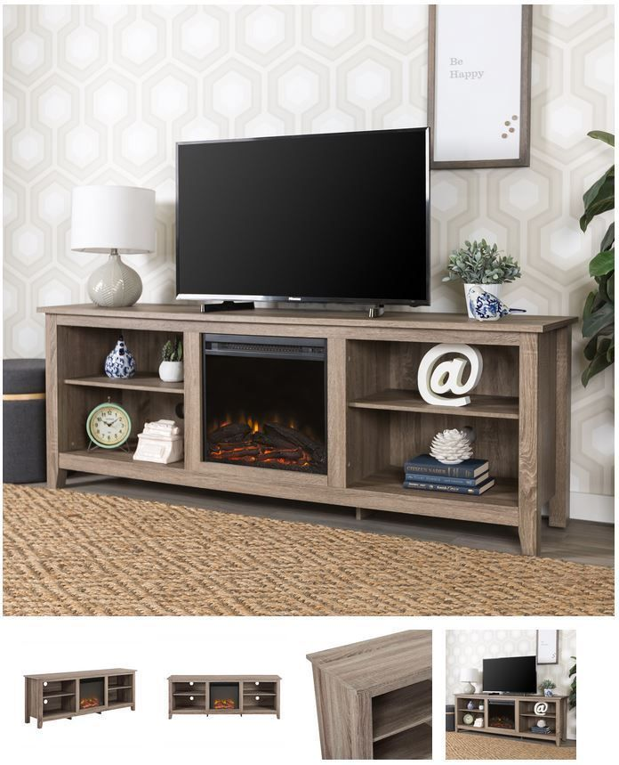 70 Inch Tv Stand With Fireplace Media Console Electric Entertainment