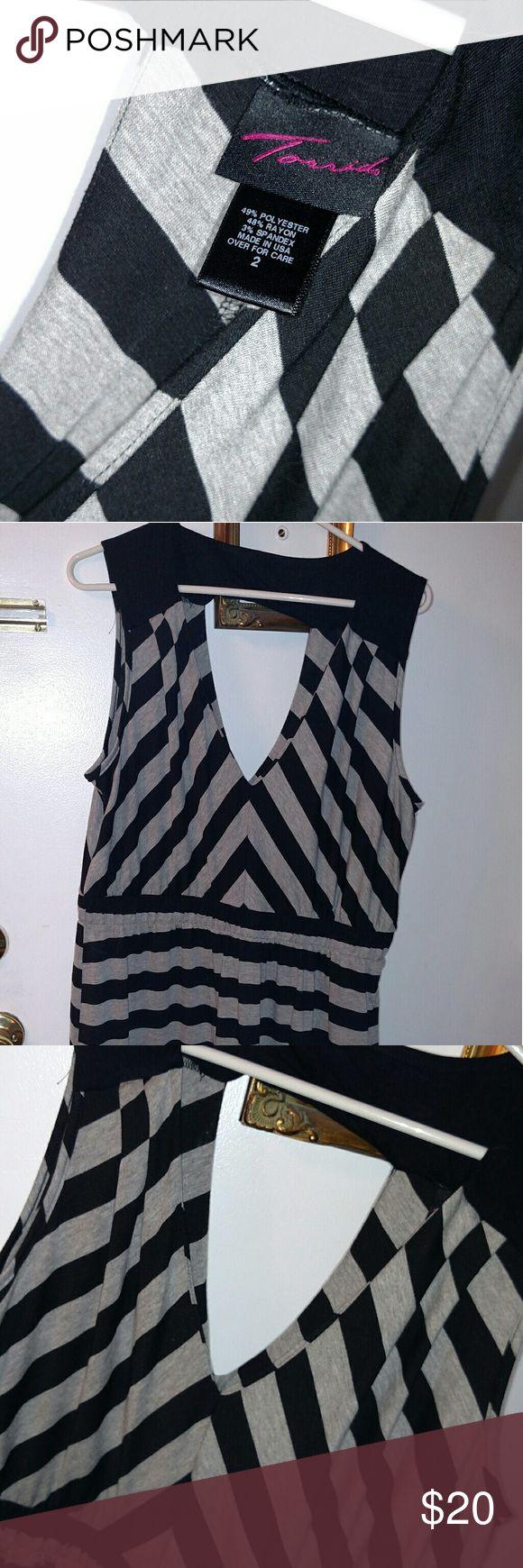 Dress Adorable black and Gray Torrid dress EUC. Cool front and back V torrid Dresses Midi