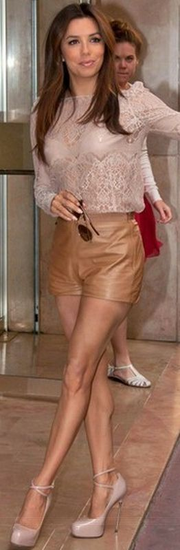 Who made  Eva Longoria's nude ankle strap pumps and long sleeve nude lace top that she wore in Cannes?