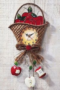 apple decorations for country kitchen | Apple Theme Country Home Kitchen Decor Red Apple in Basket Wall Clock ...had this