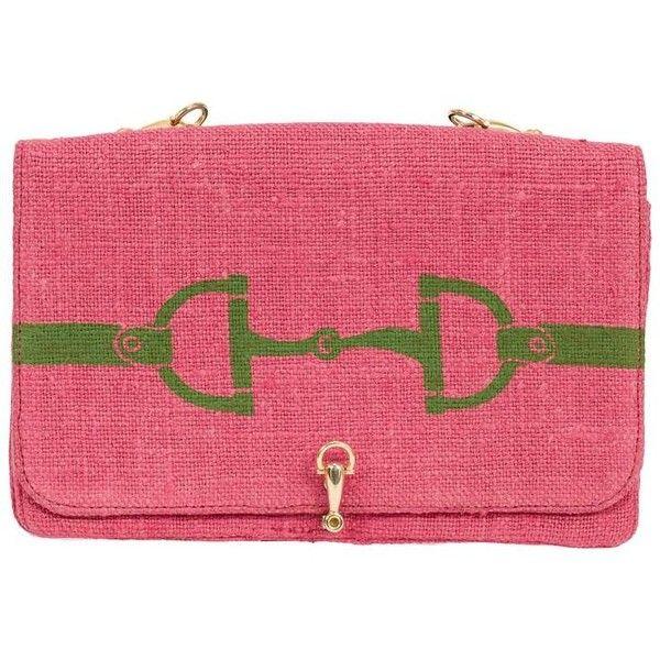 Preowned Rare Roberta Di Camerino Horse Bit Motif Pink Linen Purse... ($425) ❤ liked on Polyvore featuring bags, handbags, shoulder bags, pink, handbag purse, red shoulder bag, beaded purse, shoulder strap purses and pink shoulder bag