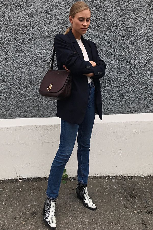Stylist & writer, Tine Andrea from the 'Fashion Eaters' blog wearing the Mulberry Amberley Satchel in Oxblood.