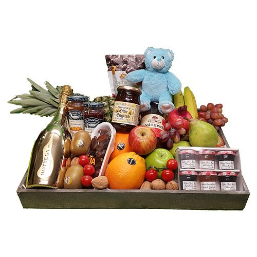 Quality Fruit Baskets. Fruitschaal luxe geboorte jongen