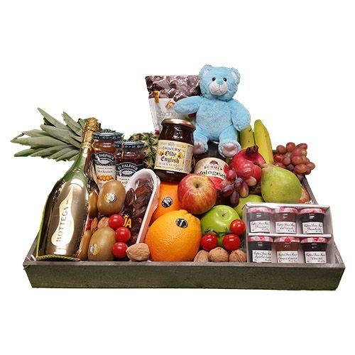 Quality Fruit Baskets. Fruitschaal luxe geboorte jongen
