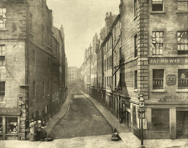 An almost ethereal photograph of a Glasgow slum area; Bell Street from High Street, taken in1868 prior to demolition.