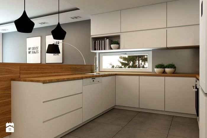 Mieszkanie Rembertów 80 m2 - Mała otwarta kuchnia w kształcie litery u w aneksie, styl minimalistyczny - zdjęcie od design me too