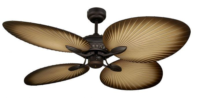 The Oasis epitomises the beauty of a traditional Balinese palm leaf fan, perfect for any household that wants to spruce up their relax room. With four palm leaf shaped blades, the Oasis has excellent airflow and a tropical design intended for enclosed patios or any room which needs a relaxing feel.  Features - Full 3 year In Home warranty - High quality Old Bronze finish - 1300mm palm leaf blades - Fully reversible for summer & winter - 3 speed wall control with light switch included…