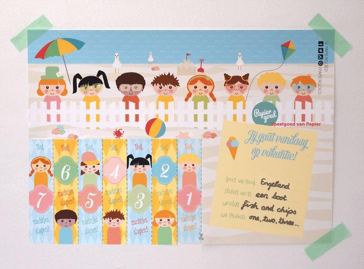 Papiergoed vakantie-aftelkalender. Een versie met nog 17 of 4 nachtjes voor je op vakantie gaat. Printen en boven je bed hangen! Gratis download!