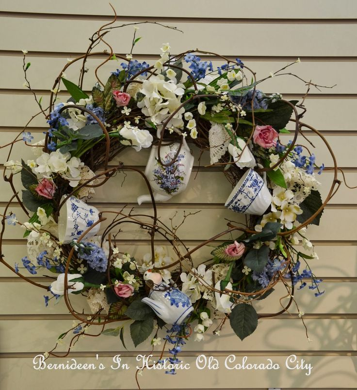 wreath with tea cups | ... transfer ware cups and a small teapot from China. Price is $89.95