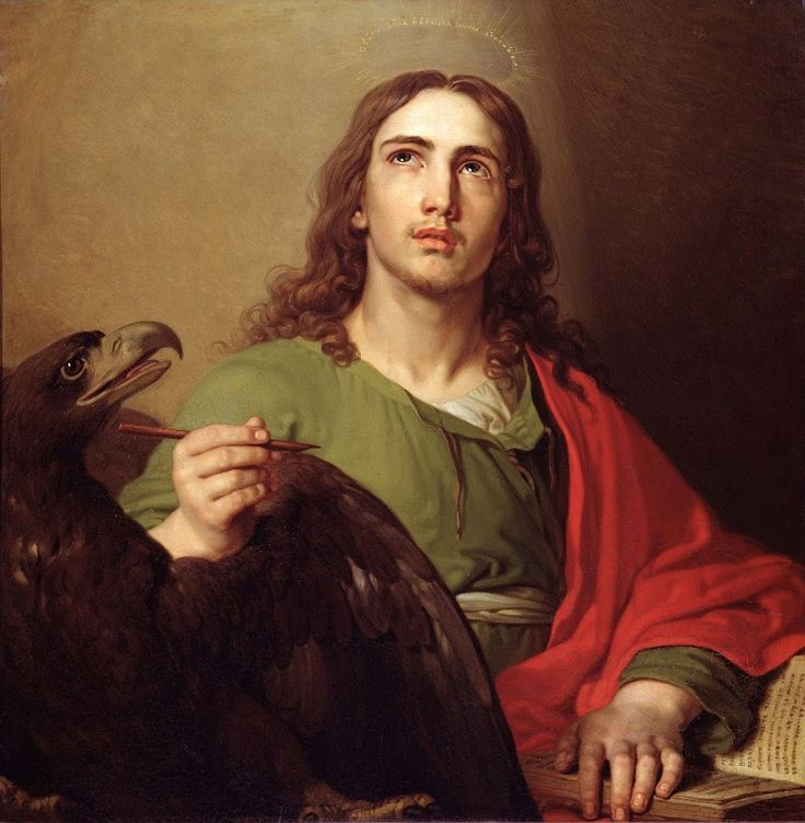 """""""But they who wait for the Lord shall renew their strength, they shall mount up with wings like eagles, they shall run and not be weary, they shall walk and not faint."""" Isaiah 40:31 // Saint John the Evangelist / San Juan el Evangelista // Between 1804 and 1809 // Vladimir Borovikovsky // From the royal gates of the central iconostasis of the Kazan Cathedral in St.-Petersburgh (Orthodox) // State Russian Museum, Saint Petersburg, Russia"""