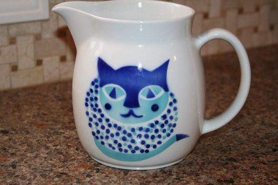 "Vintage Arabia of Finland Kaj Franck Blue Cat Pitcher - 6 1/4"" Tall"