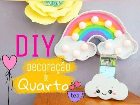 DIY Decoração de Quarto/ ideias com papelão - luminária arco-íris, porta celular Kawaii #reciclarte - YouTube