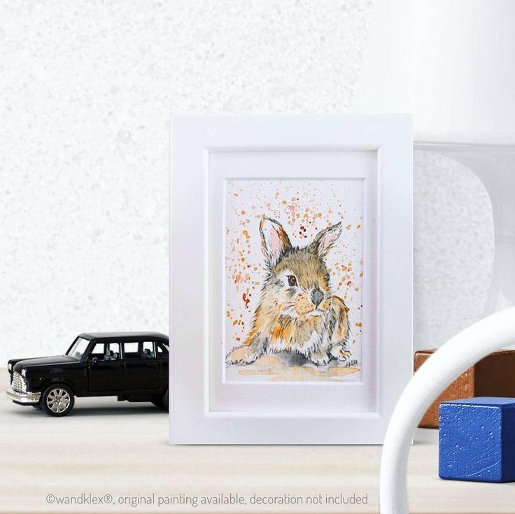 Just hopped into my onlineshop: say hello to my cute bunny Luis!   . Painted with schmincke Horadam on @hahnemuehle_global Britannia 300g rough paper painting and product photo wandklex. . #wandklex #malerei #handgemalt #aquarell #kunst #art #watercolor #watercolour #tier #tierportrait #petportrait #hase #rabbit #hare #bunny #bunnies #bunniesofig #bunniesofinstagram #etsy #etsyde #dawanda #dawandade #dawandaseller #etsyseller #etsygifts #etsyfindes #kinderzimmer #kinderzimmerdeko