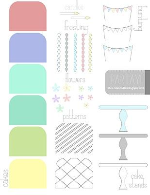 free Birthday cake printables for card-making. love the colours and bunting