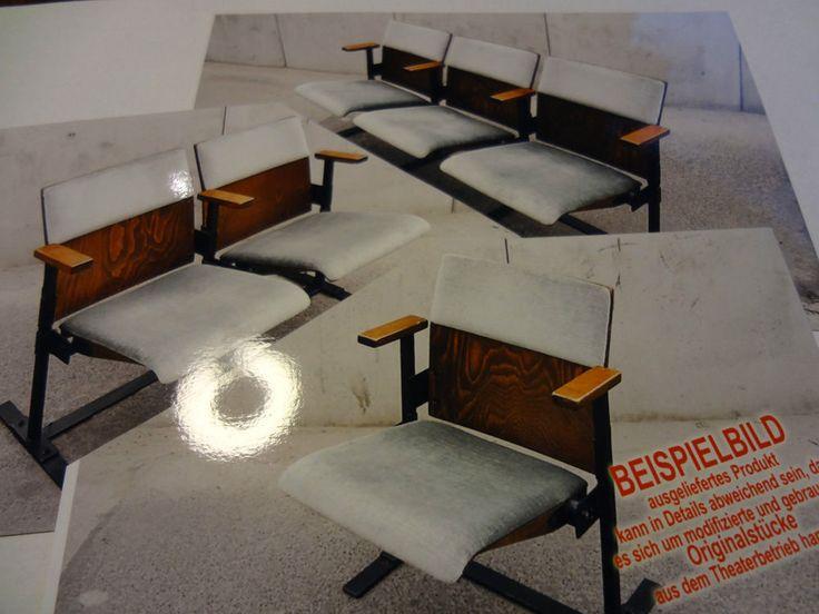 Original 1 2 3 Theaterstühle  Klappstühle Klappsitze Kinostuhl Stuhl Retro antik