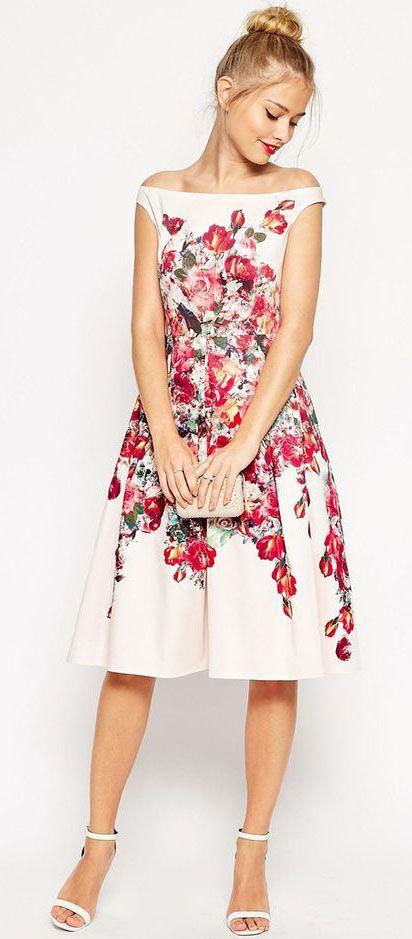 Vintage Floral Bardot Prom Dress