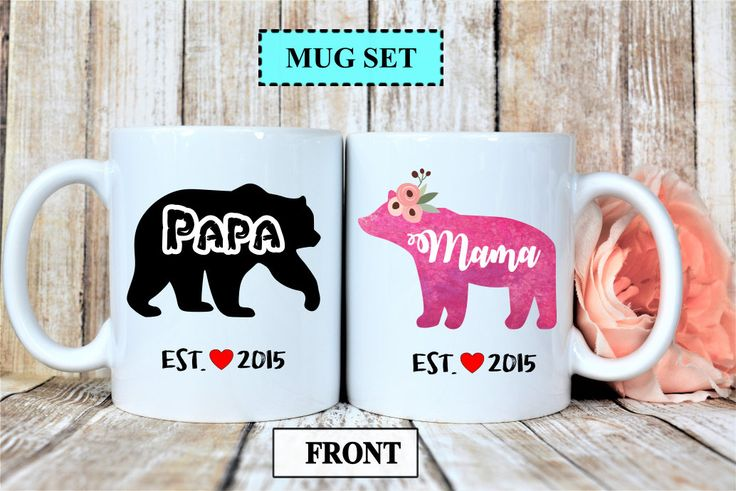 new parents gifts,new mom gift mug,new dad gift mug,mama bear mug,papa bear mug,custom name bear mug,new mom mug,new dad gift,custom mug set by TouchByTouch on Etsy