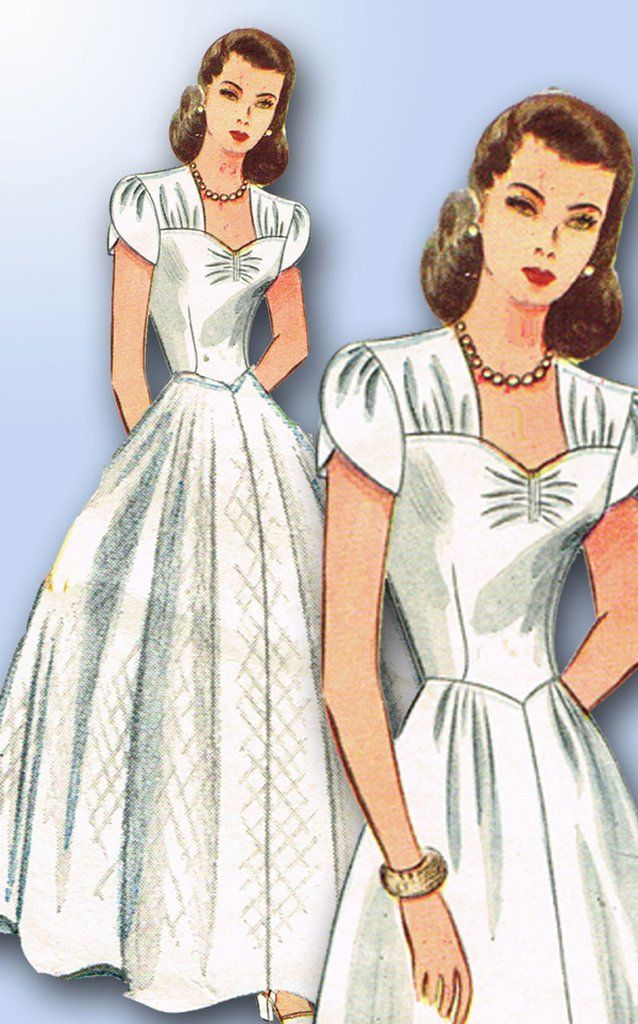 Simplicity Pattern 4986 Misses WWII Dress or Wedding Gown Pattern Classic War Bride Style Dated 1944 Complete Nice Condition 8 of 8 Pieces Unprinted Pattern Pieces Counted. Verified. Guaranteed. Nice