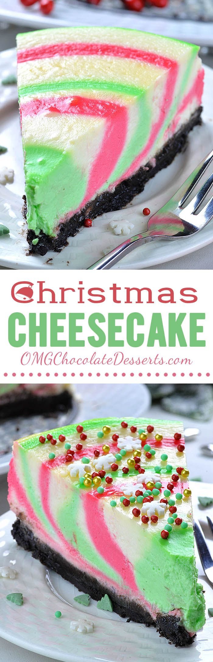 Christmas Cheesecake is fun and festive dessert for Xmas Holidays.