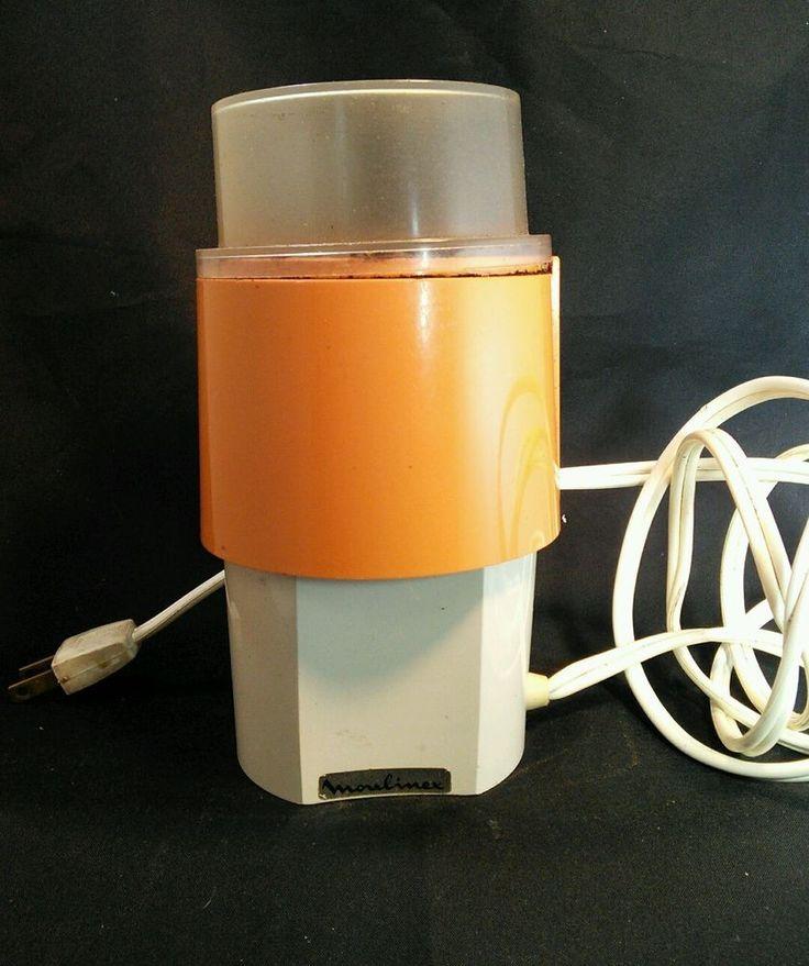 Vintage 70's MOD Coffee Nut Seed Spice GRINDER Made in France by Moulinex ORANGE    eBay