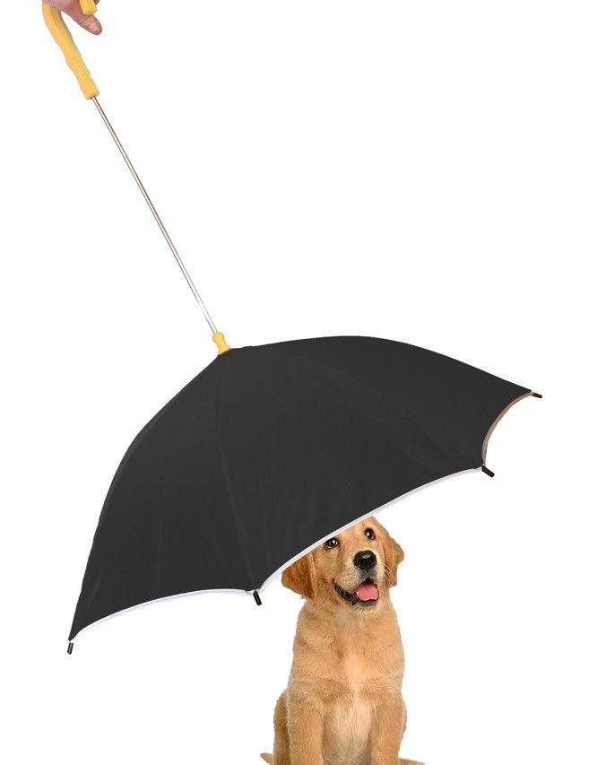 Pet Dog Umbrella With Reflective Lining Leash Holder One Size Protection Black #PetLife