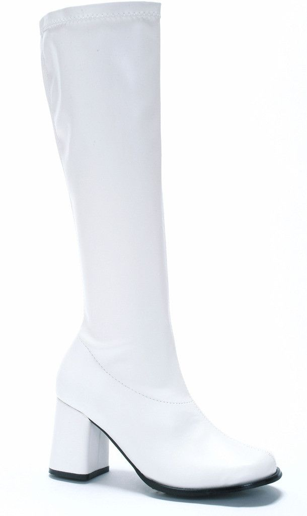 "Gogo (White) Adult Boots Includes: (1) pair of adult knee high wide 3"" heel boots. Weight (lbs) 2.14 Length (inches) 11 Width (inches) 12.25 Height(inches) 4"