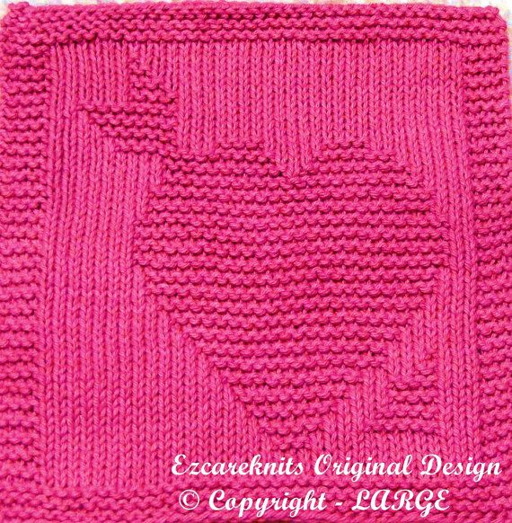 Knitting Cloth Pattern HEART and ARROW Instant by ezcareknits, $3.00