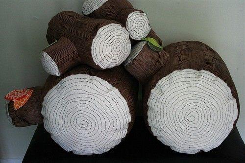 Tree stump floor pillows.