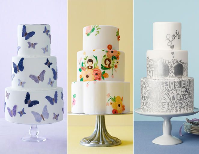 15 Hot Wedding Cake Trends | TheKnot.com Illustrated cakes-- especially the third one but not in silver