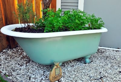 Herb Garden Bathtub. I've wanted to do this for a while... I better give that old claw-foot a fresh coat of paint