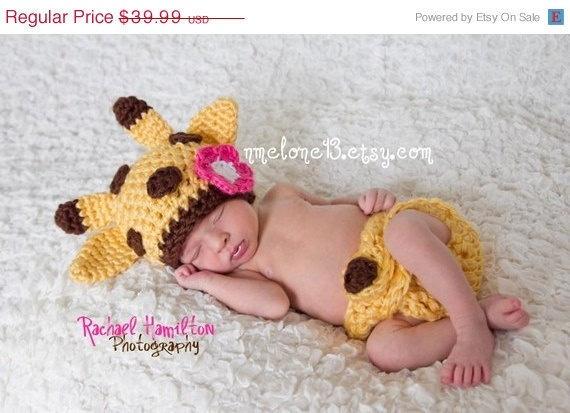ON SALE Giraffe handmade crochet Hat AND Diapper by NattyHatty, $35.19