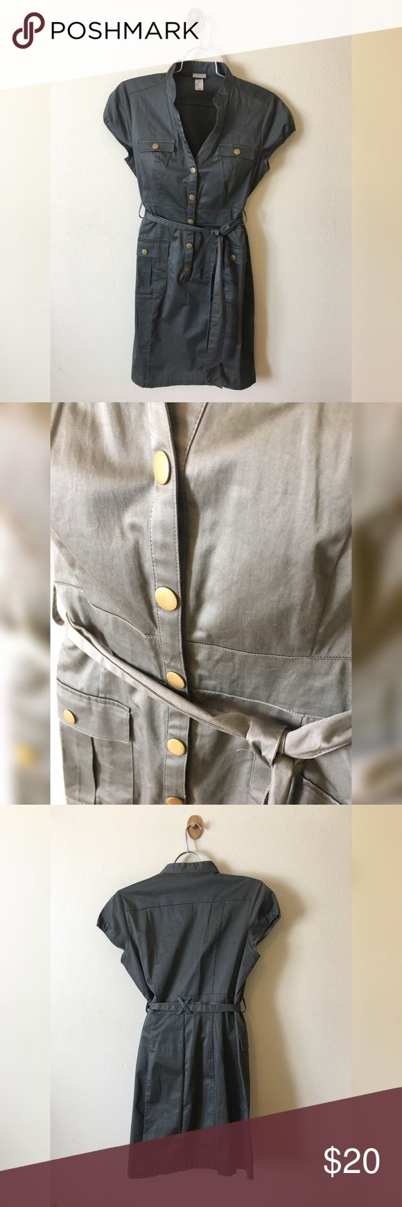 *NWOT* H&M belted shirt dress H&M military green belted shirt dress; button up front with matching sash H&M Dresses