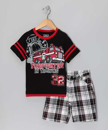 Take a look at this Black 'Firefighter'' Layered Tee & Shorts - Infant & Toddler by Little Rebels on #zulily today!