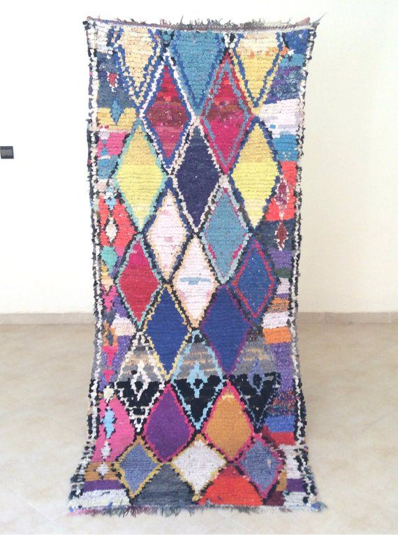 Old authentic Moroccan Tribal Handmade Boucherouite Vintage Berber Rug, 7.3 ft x 3 ft / 224 cm x 90 cm Gorgeous