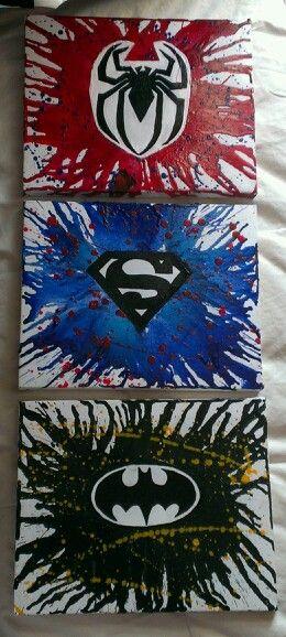 3 different superhero crayon art i made for my boyfriend :)