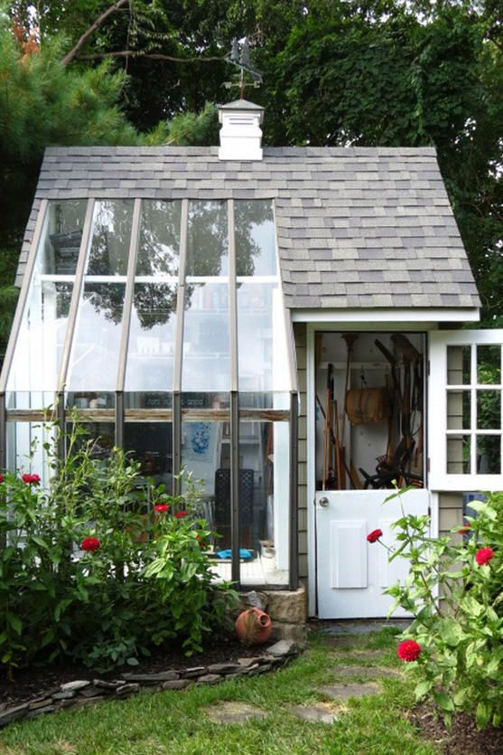 Modern Twist - The Most Charming Garden Sheds on Pinterest - Southernliving. Not only does this shed have a Dutch door, but it also is nearly entirely windows on one side. The perfect combination of clean modernity and backyard charm.  See the Pin