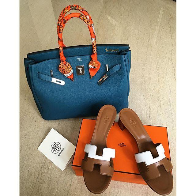 Hermes Birkin bag and sandals
