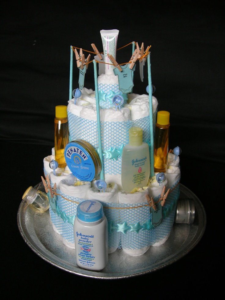 Another angle of the diaper cake.