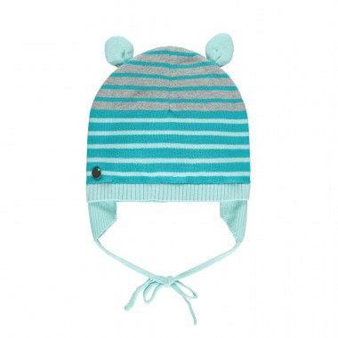 bonnet en maille avec attache oreilles gar on accessoires hiver pinterest b b gar on. Black Bedroom Furniture Sets. Home Design Ideas