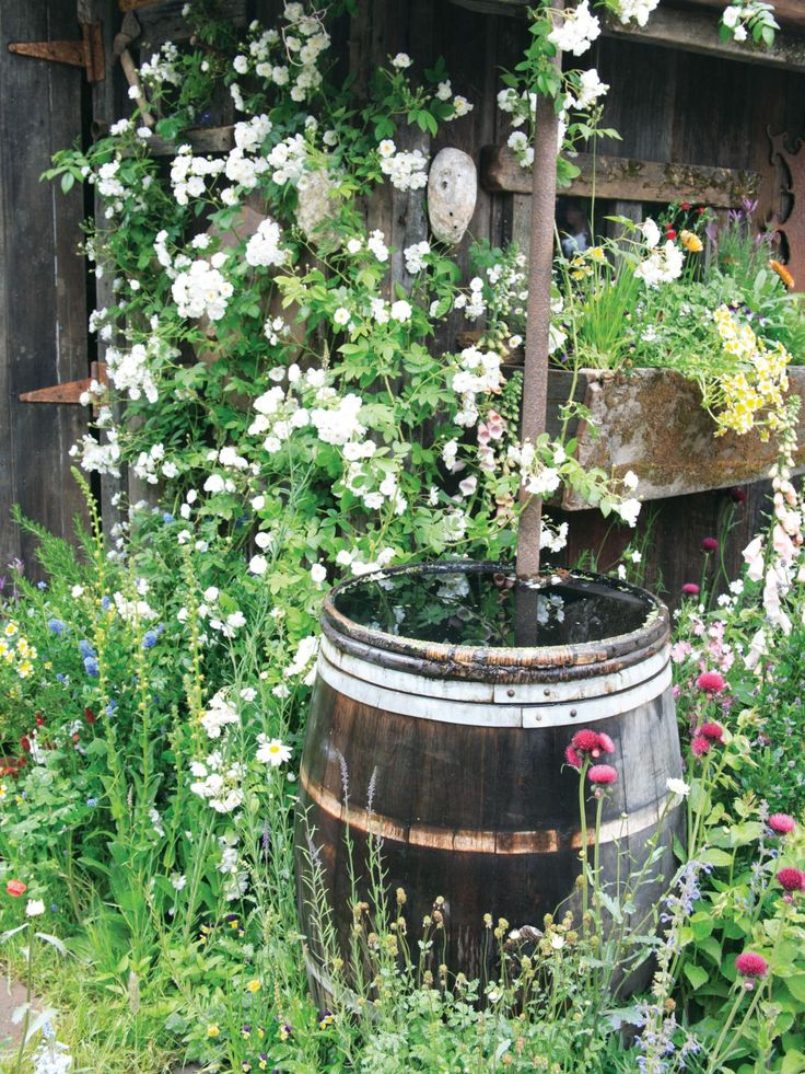 Awesome This rustic rain barrels looks great surrounded by lush white flowers and is the perfect way
