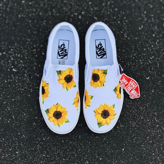 Sunflower Vans, Custom Vans, Custom Shoes, Vans, Custom