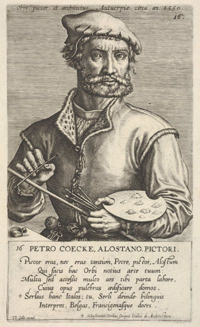 In this blog post, read curator Elizabeth Cleland's take on the life and times of Pieter Coecke van Aelst. | Jan (Johannes) Wierix (Netherlandish, 1549–1615). Portrait of Pieter Coecke van Aelst. The Metropolitan Museum of Art, New York, A. Hyatt Mayor Purchase Fund, Marjorie Phelps Starr Bequest, 1983 (1983.1115.5) #Coecke ‪#‎tapestrytuesday‬ #granddesign