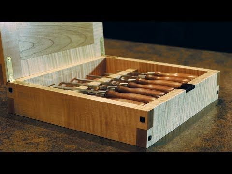 Chisel box build with hidden magnetic latch - YouTube