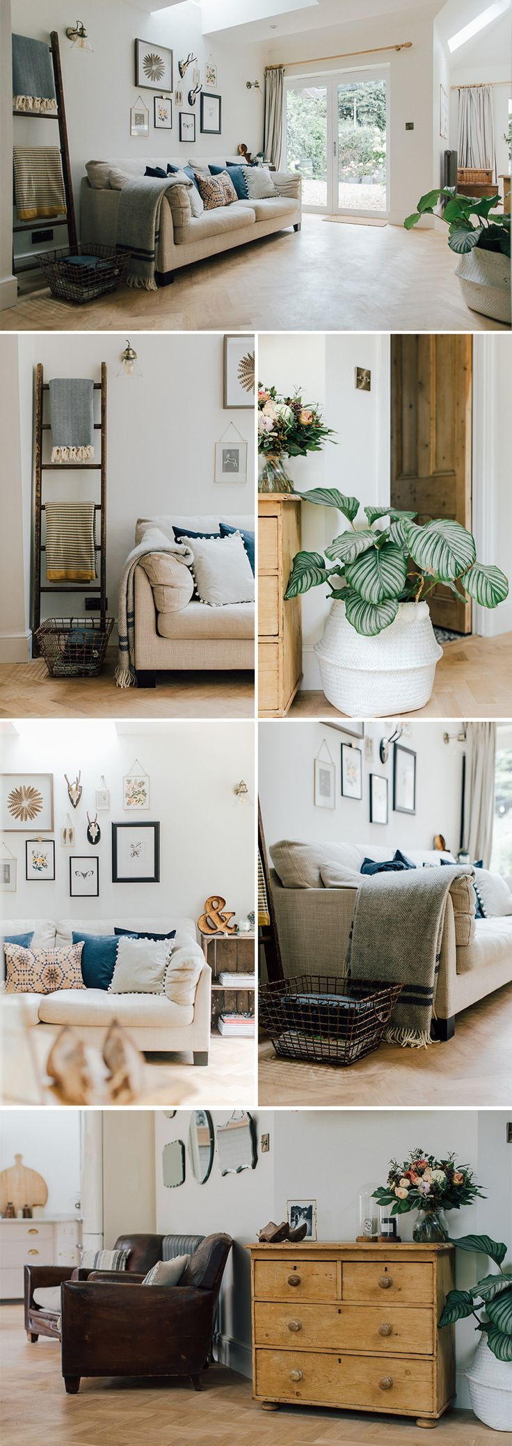 A modern open plan country snug | Kitchen lounge area inspiration | Kitchen sofa | How to style a sofa | Large palm plant | battered leather chairs | reclaimed side board | Pine chest of drawers | wicker basket | scaffold board table | eames dining chair |