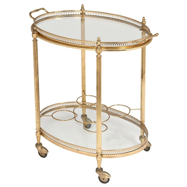 French Vintage Oval Gilt Brass & Glass Bar Cart