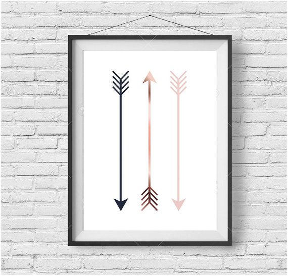 Arrow Print, Tribal Art, Nursery Printable, Digital Wall Art, Scandinavian Print, Minimalist, Modern Decor, Copper Art, Navy & Blush